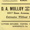 1958 Ad for D.A. Molloy Roofing